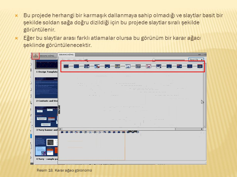  Bu projede herhangi bir karmaşık dallanmaya sahip olmadığı ve slaytlar basit bir şekilde soldan sağa doğru dizildiği için bu projede slaytlar sıralı şekilde görüntülenir.