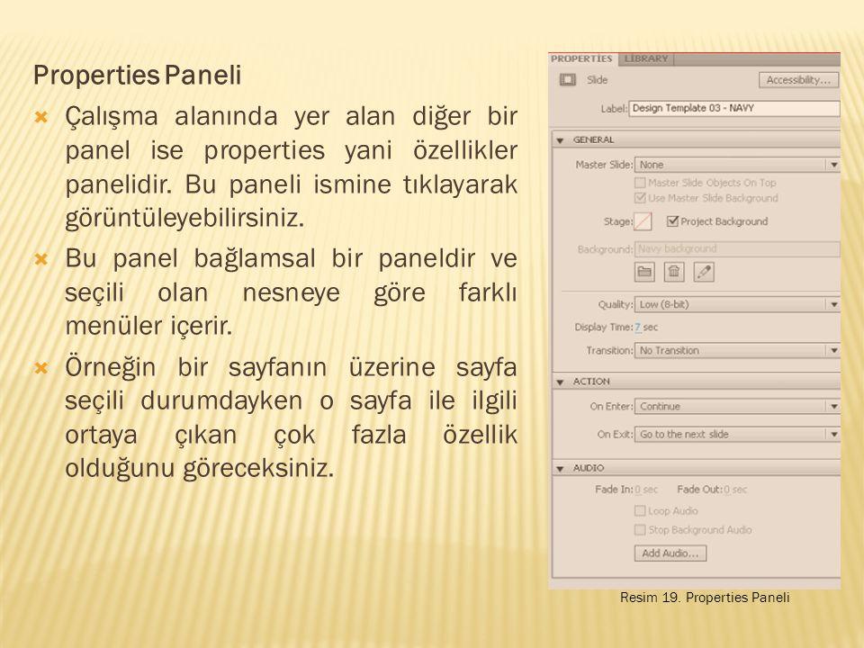 Properties Paneli  Çalışma alanında yer alan diğer bir panel ise properties yani özellikler panelidir.
