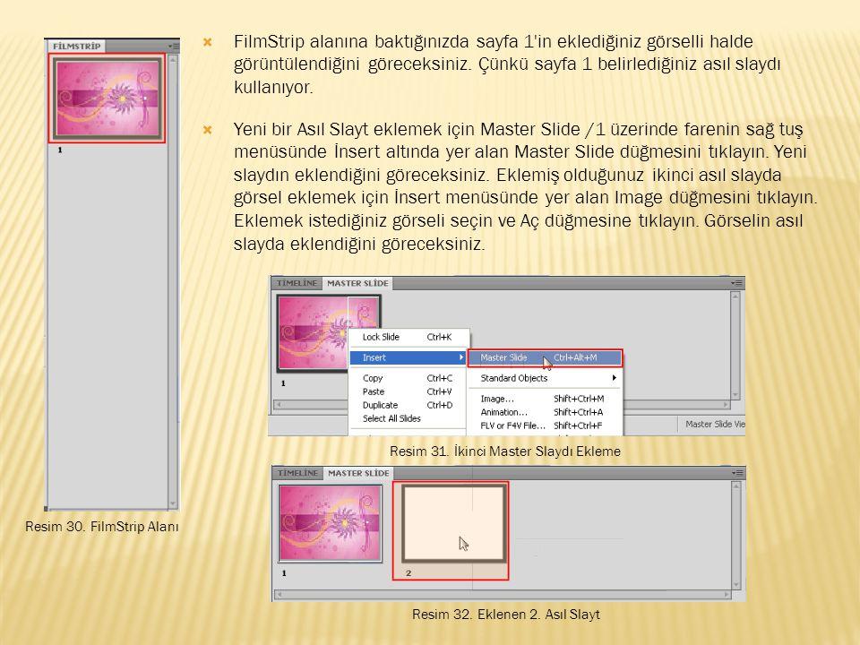  FilmStrip alanına baktığınızda sayfa 1 in eklediğiniz görselli halde görüntülendiğini göreceksiniz.