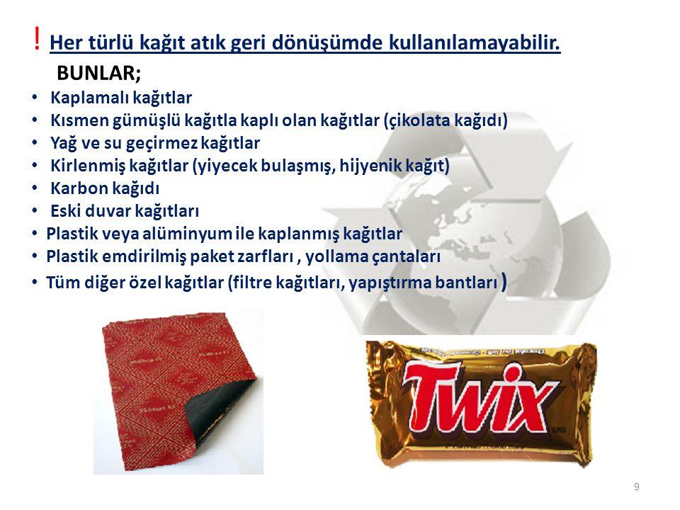 9 ! Her türlü kağıt atık geri dönüşümde kullanılamayabilir. BUNLAR; • Kaplamalı kağıtlar • Kısmen gümüşlü kağıtla kaplı olan kağıtlar (çikolata kağıdı