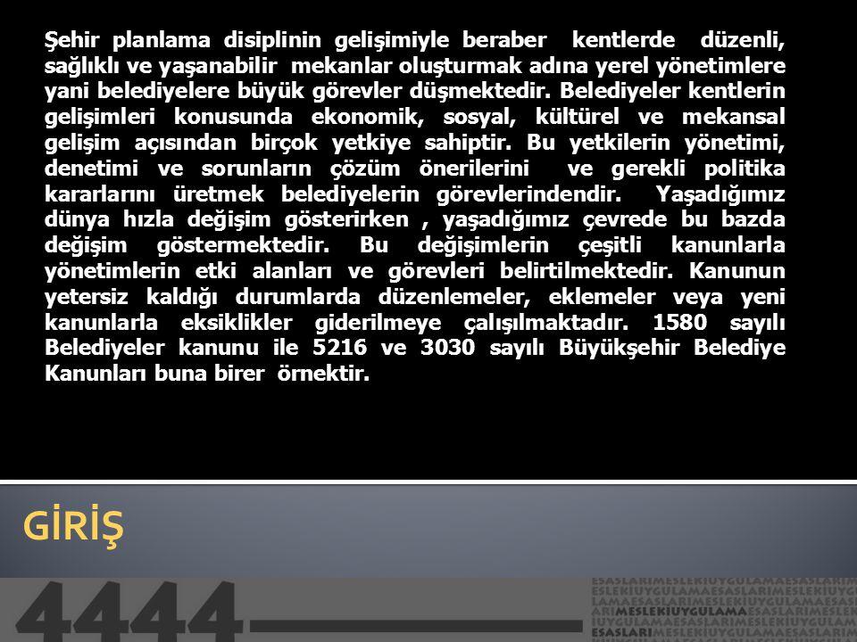 AMAÇ 3030 sayılı Büyükşehir Belediyesi Kanunu 27.06.1984 tarihinde kabul edilmiş ve 09.07.1984 tarih ve 18453 sayılı resmi gazetede yayımlanmıştır.