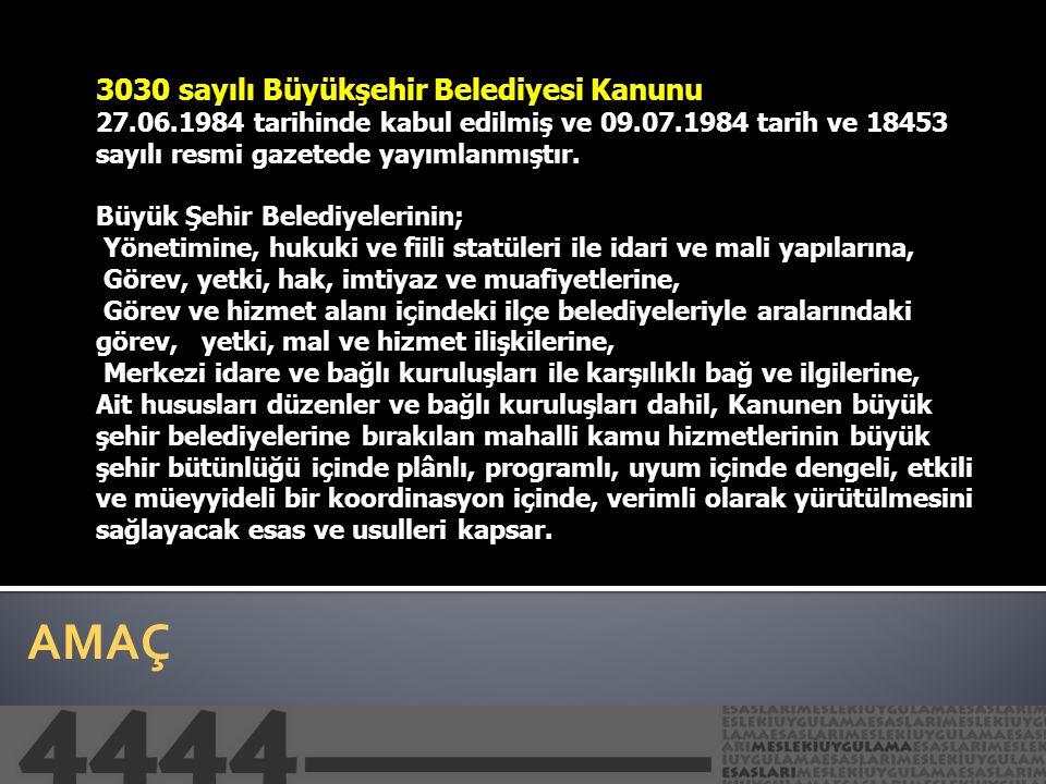 AMAÇ 5216 sayılı Büyükşehir Belediye Kanunu 09.07.2004 tarihinde yürürlüğe giren ve 23.07.2004 tarihli 25531 sayılı resmi Gazetede yayımlanarak yürürlüğe giren kanun yürürlükten kaldırılan 3030 sayılı Büyükşehir Belediyelerinin Yönetimi hakkında Kanun, büyükşehir belediyeleri ile ilgili ilk kapsamlı düzenlemedir.