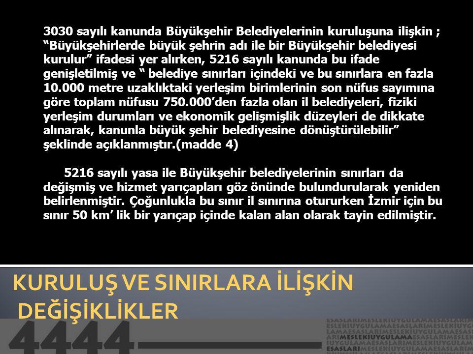 5216 SAYILI BÜYÜKŞEHİR BELEDİYESİ KANUNUNA YÖNELİK ELEŞTİRİLER Bir diğer eleştirilebilecek nokta sınırlara ilişkindir.Özellikle İzmir'de 50 km'lik yarıçap pek çok tartışmalara neden olmuştur.Büyük şehre dahil olma olmama durumları eleştiriye açık noktalar olarak gündeme gelmiştir.