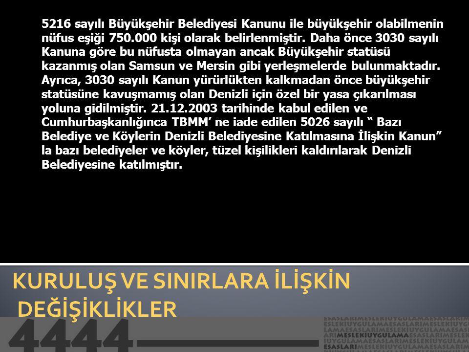 KURULUŞ VE SINIRLARA İLİŞKİN DEĞİŞİKLİKLER 5216 sayılı Büyükşehir Belediye Kanununun yürürlüğe girdiği tarihte büyükşehir belediye sınırları, İstanbul ve Kocaeli ilinde, il mülki sınırı olarak belirlenmiştir.