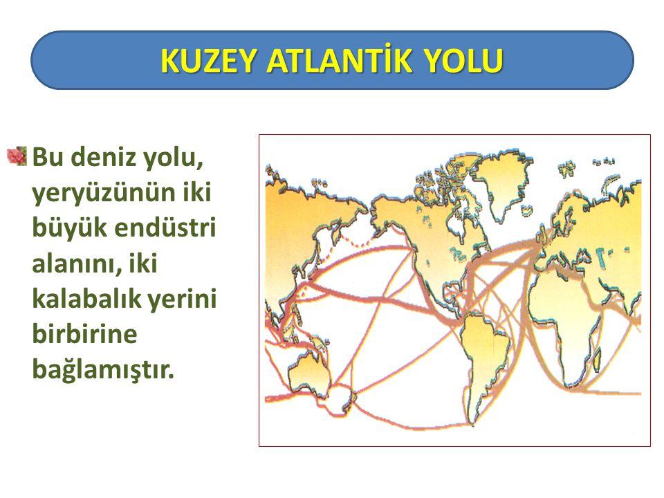 Bu deniz yolu, yeryüzünün iki büyük endüstri alanını, iki kalabalık yerini birbirine bağlamıştır. KUZEY ATLANTİK YOLU