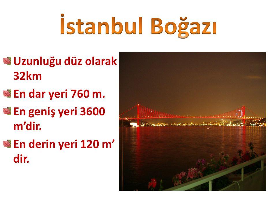 Uzunluğu düz olarak 32km En dar yeri 760 m. En geniş yeri 3600 m'dir. En derin yeri 120 m' dir.