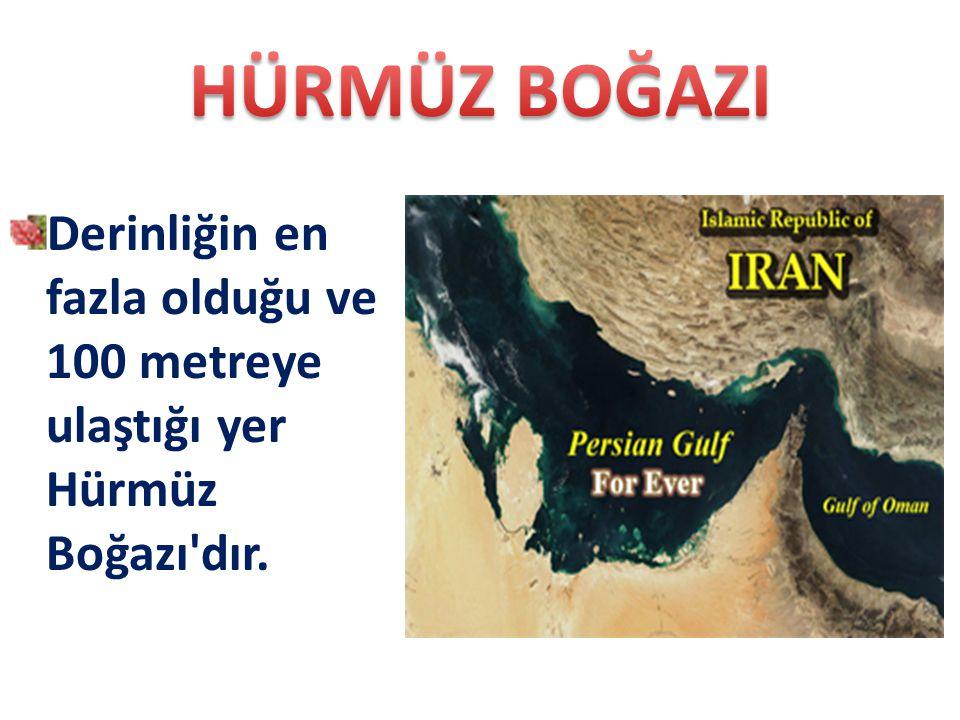 Derinliğin en fazla olduğu ve 100 metreye ulaştığı yer Hürmüz Boğazı'dır.