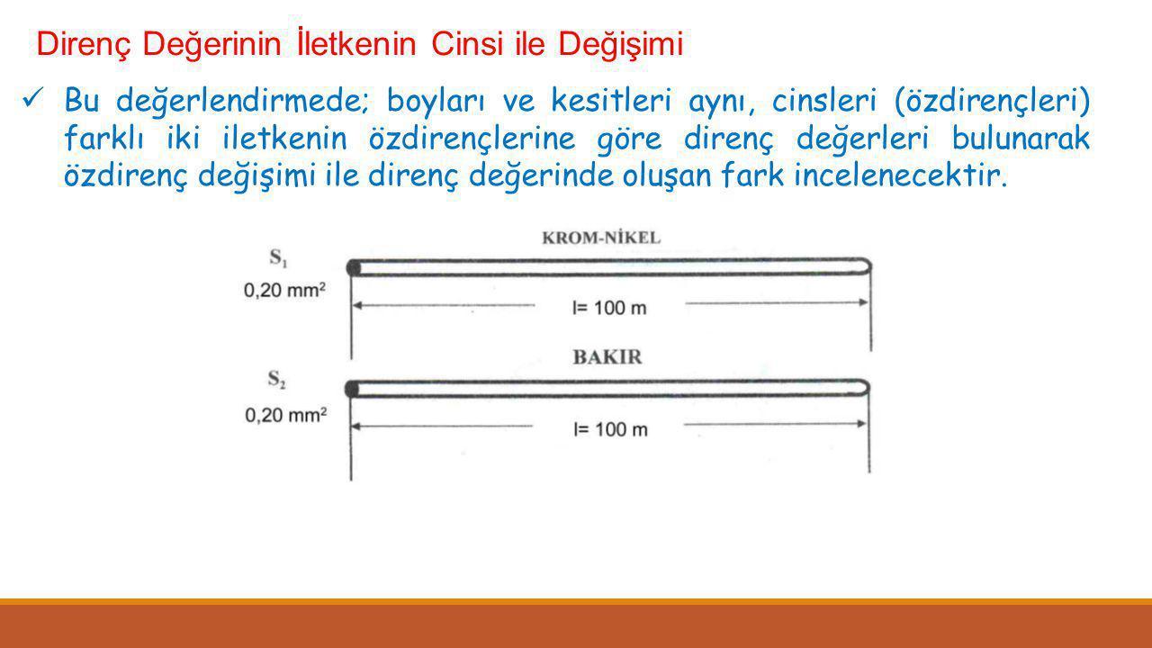 Direnç Değerinin İletkenin Cinsi ile Değişimi  Bu değerlendirmede; boyları ve kesitleri aynı, cinsleri (özdirençleri) farklı iki iletkenin özdirençle
