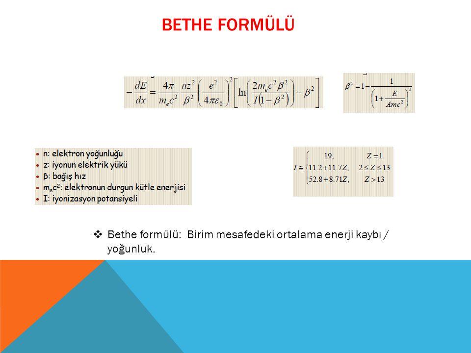 BETHE FORMÜLÜ  Bethe formülü: Birim mesafedeki ortalama enerji kaybı / yoğunluk.
