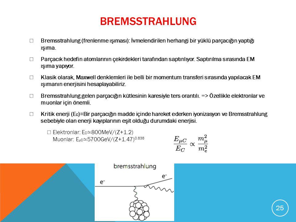 BREMSSTRAHLUNG Bremsstrahlung (frenlenme ışıması): İvmelendirilen herhangi bir yüklü parçacığın yaptığı ışıma. Parçacık hedefin atomlarının çekirdekle
