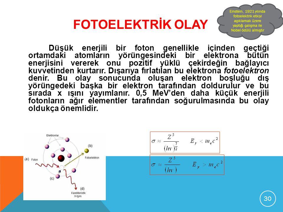 FOTOELEKTRİK OLAY Düşük enerjili bir foton genellikle içinden geçtiği ortamdaki atomların yörüngesindeki bir elektrona bütün enerjisini vererek onu po