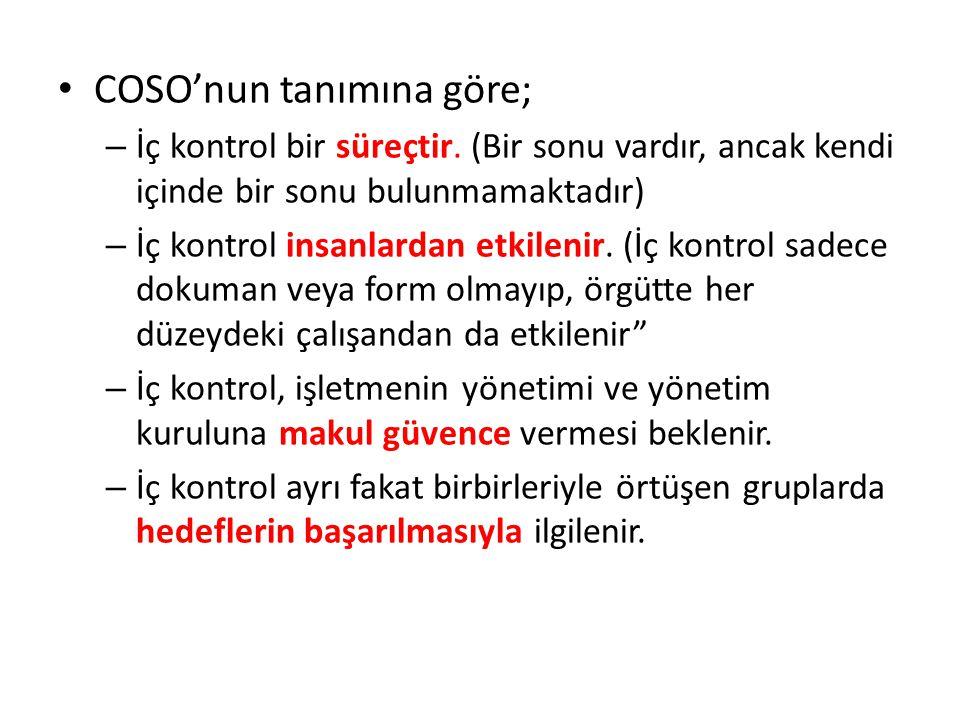 • COSO'nun tanımına göre; – İç kontrol bir süreçtir. (Bir sonu vardır, ancak kendi içinde bir sonu bulunmamaktadır) – İç kontrol insanlardan etkilenir