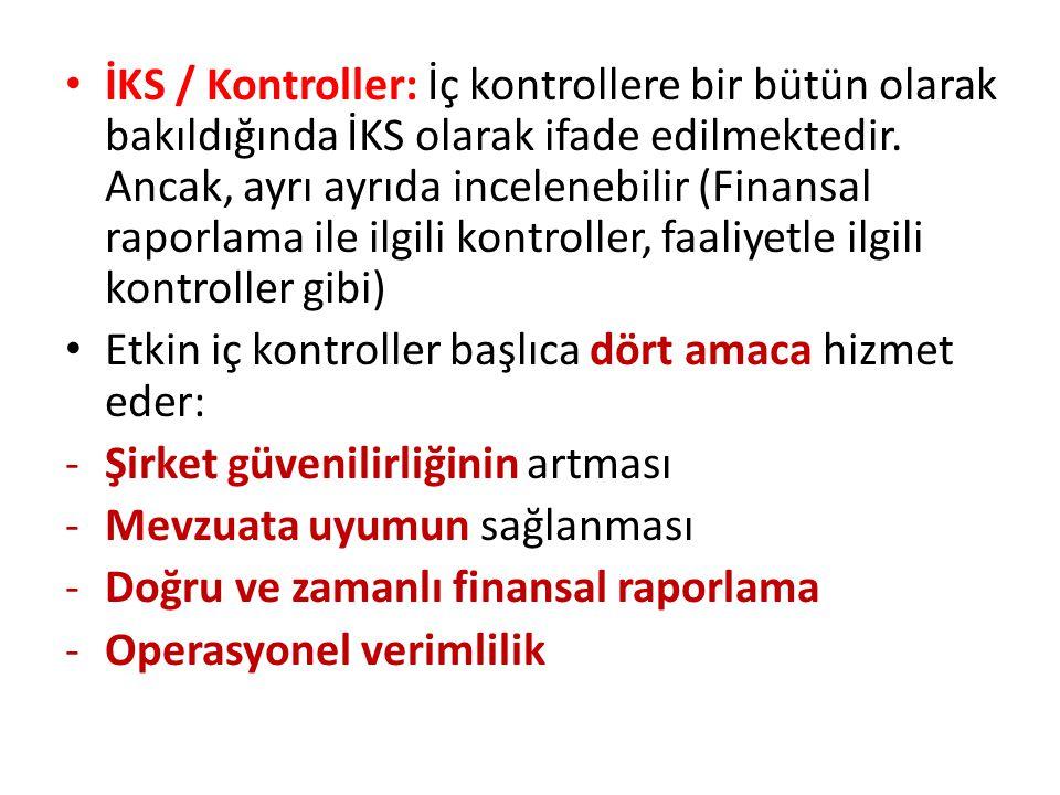 • İKS / Kontroller: İç kontrollere bir bütün olarak bakıldığında İKS olarak ifade edilmektedir. Ancak, ayrı ayrıda incelenebilir (Finansal raporlama i