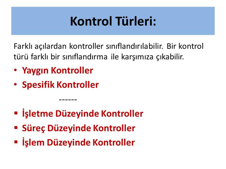 Kontrol Türleri: Farklı açılardan kontroller sınıflandırılabilir. Bir kontrol türü farklı bir sınıflandırma ile karşımıza çıkabilir. • Yaygın Kontroll