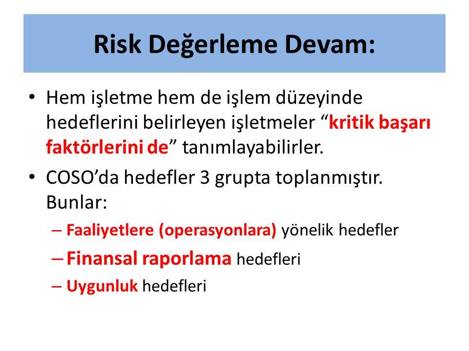 """Risk Değerleme Devam: • Hem işletme hem de işlem düzeyinde hedeflerini belirleyen işletmeler """"kritik başarı faktörlerini de"""" tanımlayabilirler. • COSO"""