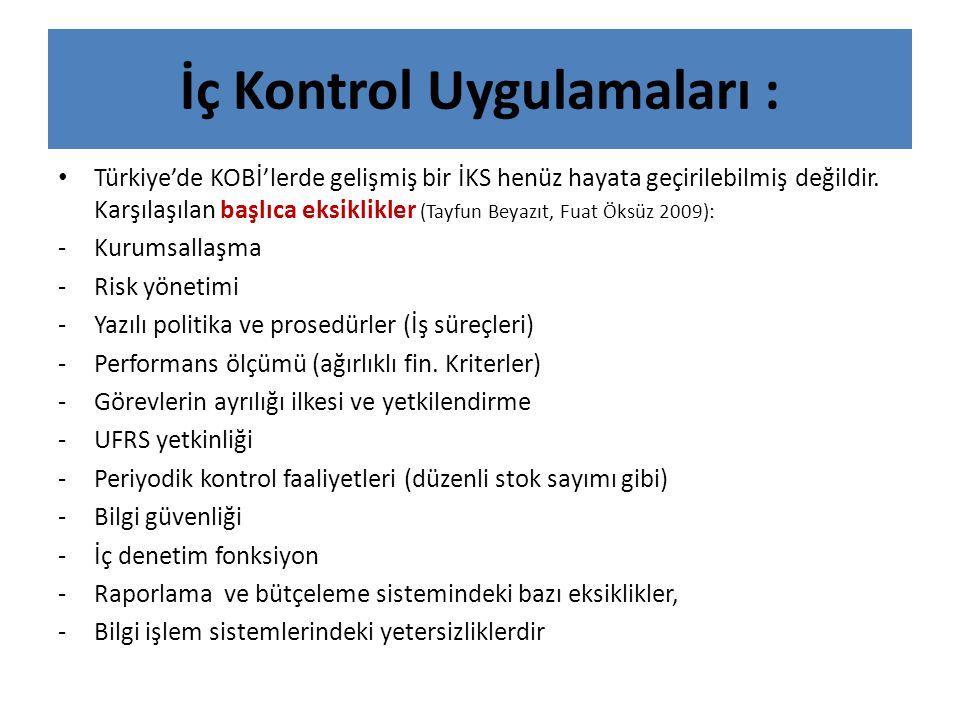 İç Kontrol Uygulamaları : • Türkiye'de KOBİ'lerde gelişmiş bir İKS henüz hayata geçirilebilmiş değildir. Karşılaşılan başlıca eksiklikler (Tayfun Beya