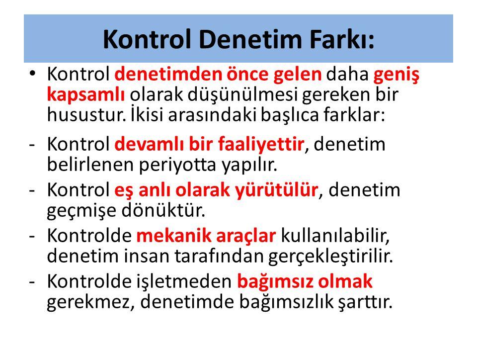 Kontrol Denetim Farkı: • Kontrol denetimden önce gelen daha geniş kapsamlı olarak düşünülmesi gereken bir husustur. İkisi arasındaki başlıca farklar: