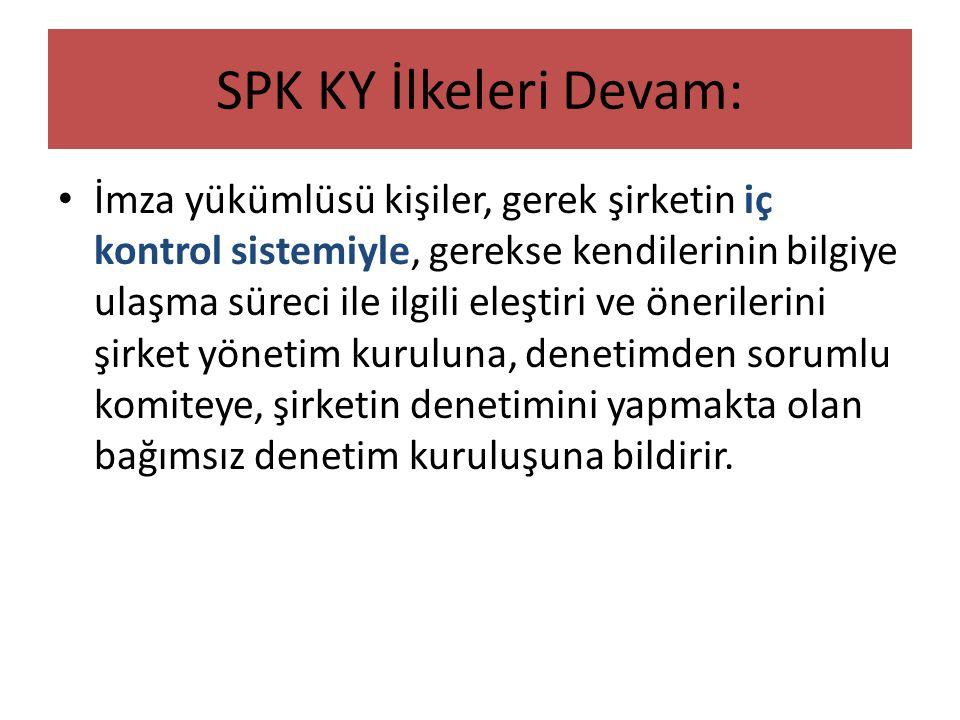 SPK KY İlkeleri Devam: • İmza yükümlüsü kişiler, gerek şirketin iç kontrol sistemiyle, gerekse kendilerinin bilgiye ulaşma süreci ile ilgili eleştiri
