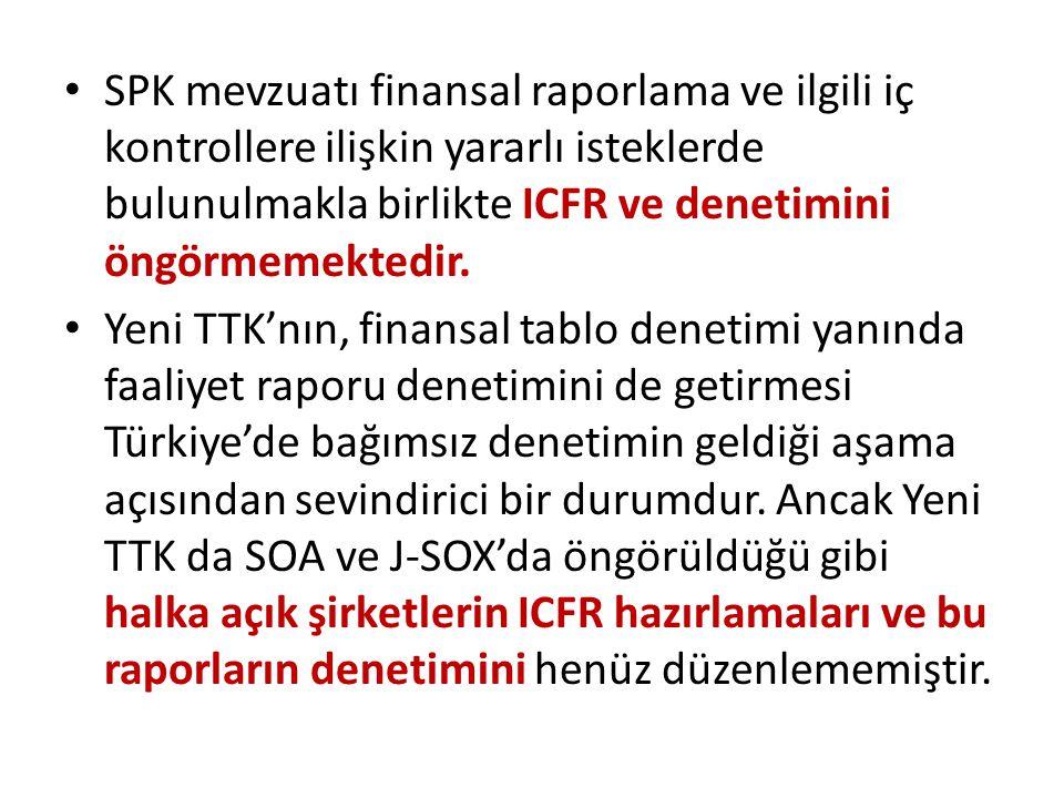• SPK mevzuatı finansal raporlama ve ilgili iç kontrollere ilişkin yararlı isteklerde bulunulmakla birlikte ICFR ve denetimini öngörmemektedir. • Yeni