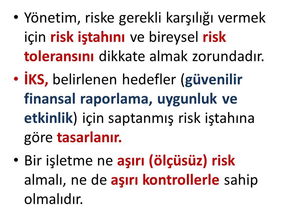 • Yönetim, riske gerekli karşılığı vermek için risk iştahını ve bireysel risk toleransını dikkate almak zorundadır. • İKS, belirlenen hedefler (güveni