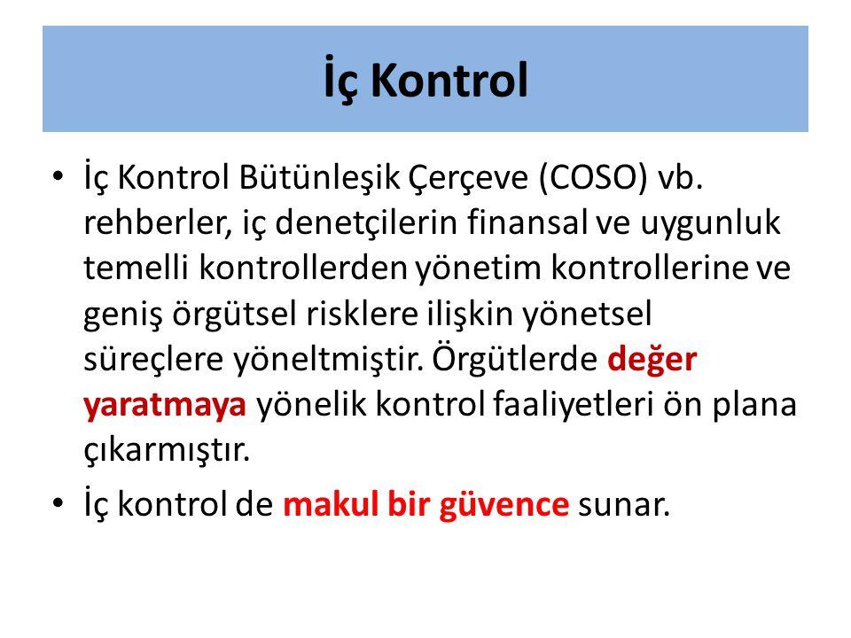 İç Kontrol • İç Kontrol Bütünleşik Çerçeve (COSO) vb. rehberler, iç denetçilerin finansal ve uygunluk temelli kontrollerden yönetim kontrollerine ve g