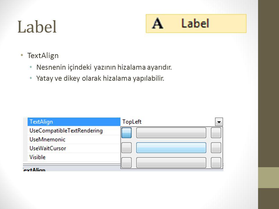 Label • Visible (True / False) • Nesnenin görünür olma ayarıdır.