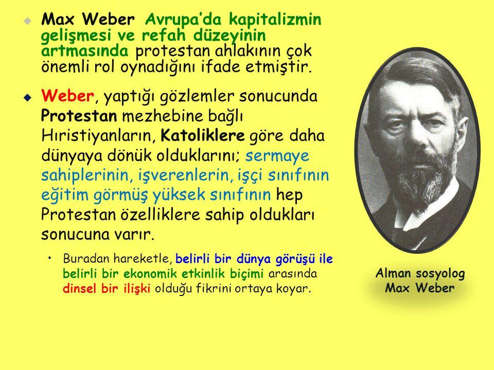   Max Weber Avrupa'da kapitalizmin gelişmesi ve refah düzeyinin artmasında protestan ahlakının çok önemli rol oynadığını ifade etmiştir.