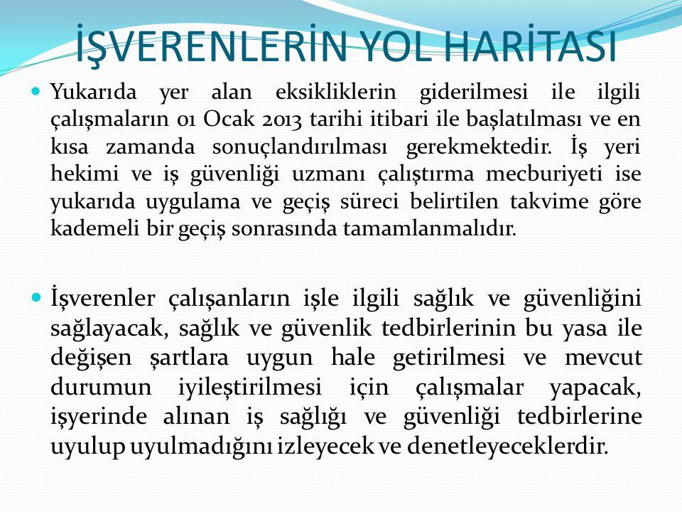 İŞVERENLERİN YOL HARİTASI  Yukarıda yer alan eksikliklerin giderilmesi ile ilgili çalışmaların 01 Ocak 2013 tarihi itibari ile başlatılması ve en kıs