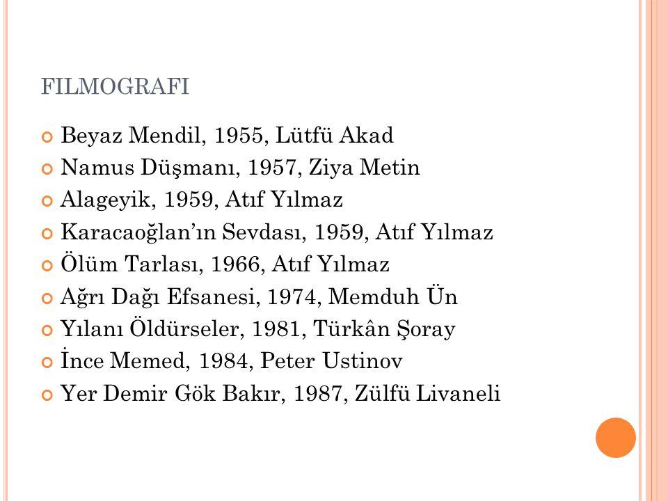 FILMOGRAFI Beyaz Mendil, 1955, Lütfü Akad Namus Düşmanı, 1957, Ziya Metin Alageyik, 1959, Atıf Yılmaz Karacaoğlan'ın Sevdası, 1959, Atıf Yılmaz Ölüm T