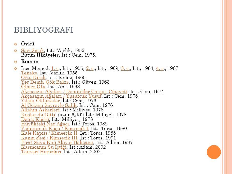 BIBLIYOGRAFI Öykü Sarı SıcakSarı Sıcak, İst.: Varlık, 1952 Bütün Hikâyeler, İst.: Cem, 1975. Roman İnce Memed, 1. c., İst., 1955; 2. c., İst., 1969; 3