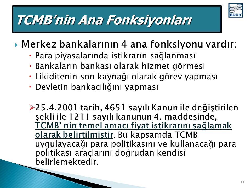  Merkez bankalarının 4 ana fonksiyonu vardır:  Para piyasalarında istikrarın sağlanması  Bankaların bankası olarak hizmet görmesi  Likiditenin son