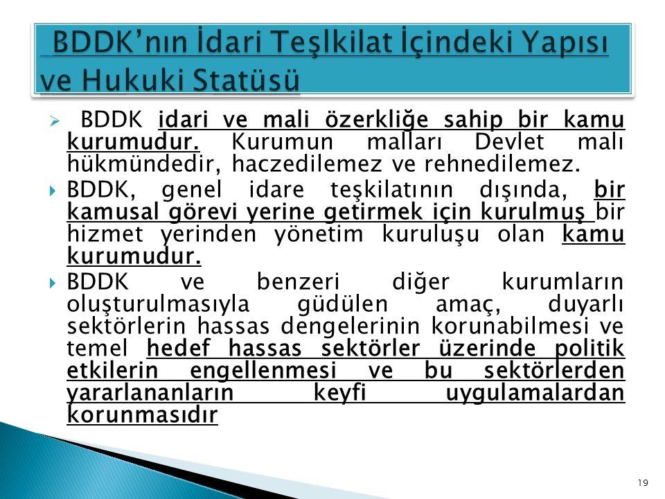  BDDK idari ve mali özerkliğe sahip bir kamu kurumudur. Kurumun malları Devlet malı hükmündedir, haczedilemez ve rehnedilemez.  BDDK, genel idare te