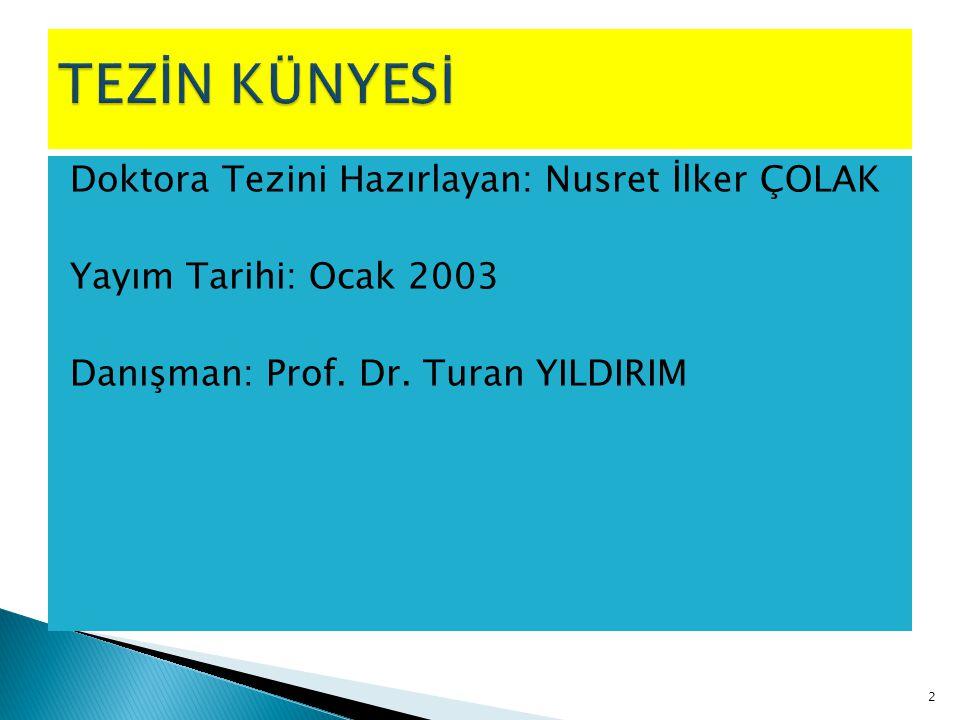 Doktora Tezini Hazırlayan: Nusret İlker ÇOLAK Yayım Tarihi: Ocak 2003 Danışman: Prof. Dr. Turan YILDIRIM 2