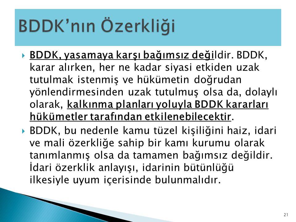  BDDK, yasamaya karşı bağımsız değildir. BDDK, karar alırken, her ne kadar siyasi etkiden uzak tutulmak istenmiş ve hükümetin doğrudan yönlendirmesin