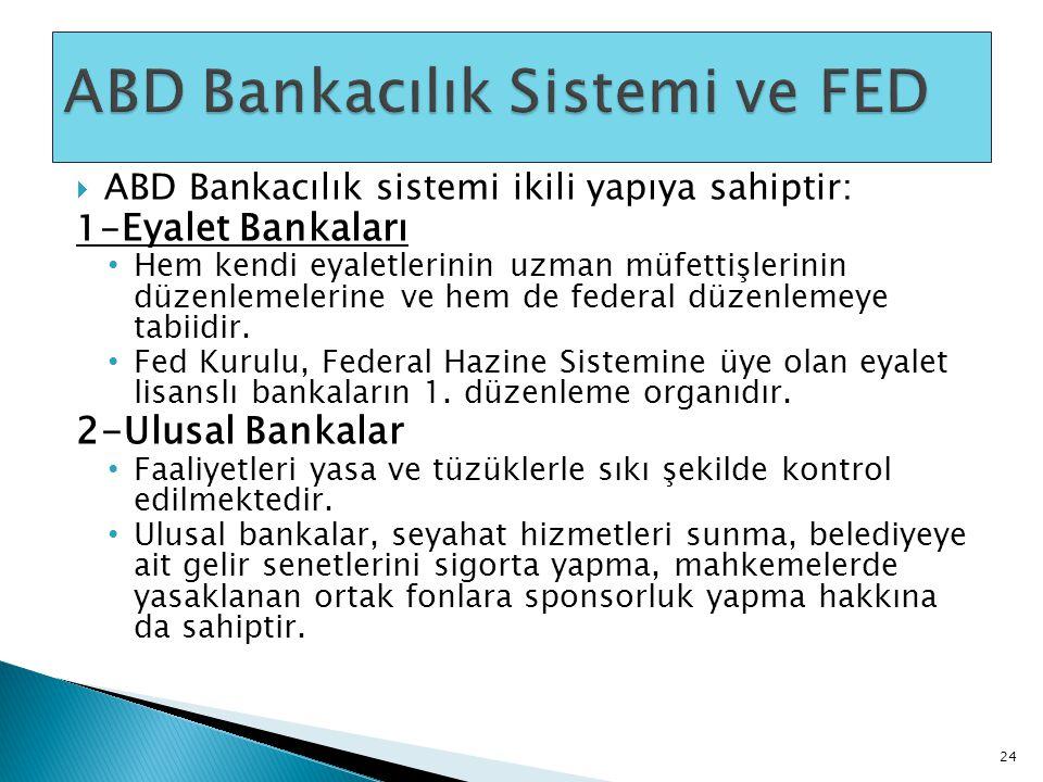  ABD Bankacılık sistemi ikili yapıya sahiptir: 1- Eyalet Bankaları • Hem kendi eyaletlerinin uzman müfettişlerinin düzenlemelerine ve hem de federal