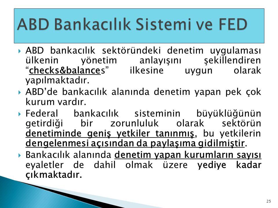 """ ABD bankacılık sektöründeki denetim uygulaması ülkenin yönetim anlayışını şekillendiren """"checks&balances"""" ilkesine uygun olarak yapılmaktadır.  ABD"""