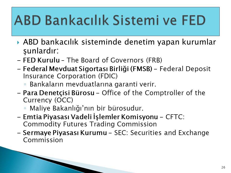  ABD bankacılık sisteminde denetim yapan kurumlar şunlardır : - FED Kurulu – The Board of Governors (FRB) - Federal Mevduat Sigortası Birliği (FMSB)