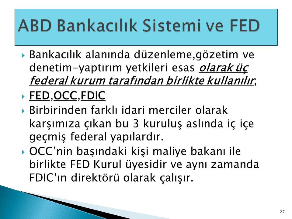  Bankacılık alanında düzenleme,gözetim ve denetim-yaptırım yetkileri esas olarak üç federal kurum tarafından birlikte kullanılır;  FED,OCC,FDIC  Bi