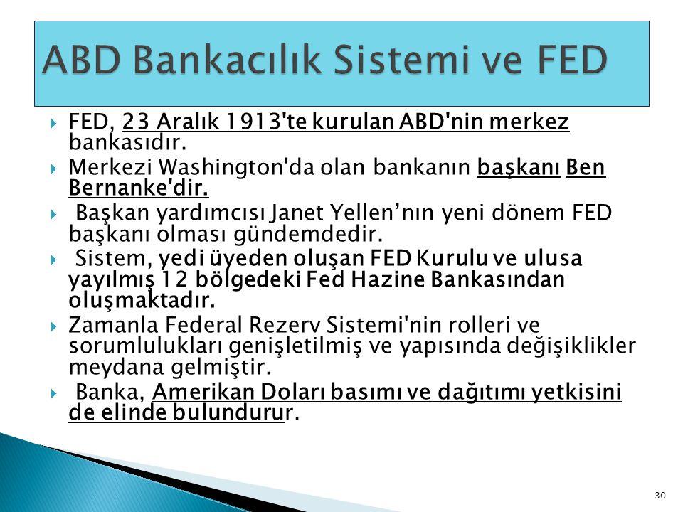  FED, 23 Aralık 1913'te kurulan ABD'nin merkez bankasıdır.  Merkezi Washington'da olan bankanın başkanı Ben Bernanke'dir.  Başkan yardımcısı Janet