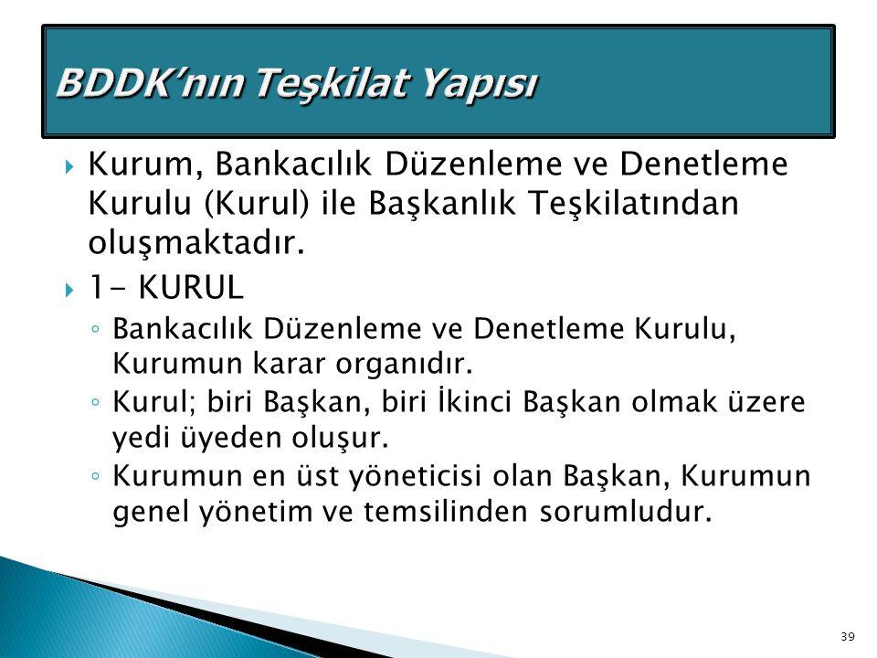  Kurum, Bankacılık Düzenleme ve Denetleme Kurulu (Kurul) ile Başkanlık Teşkilatından oluşmaktadır.  1- KURUL ◦ Bankacılık Düzenleme ve Denetleme Kur