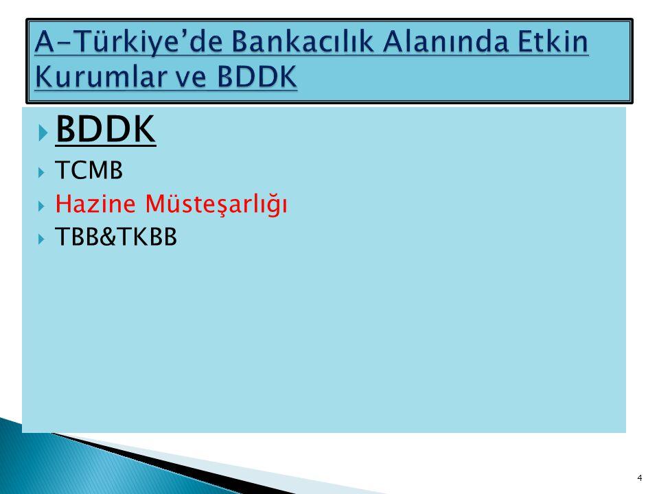  BDDK  TCMB  Hazine Müsteşarlığı  TBB&TKBB 4