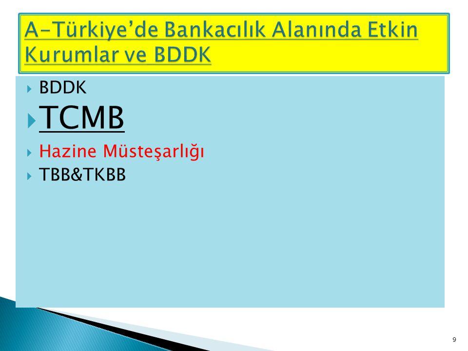  BDDK  TCMB  Hazine Müsteşarlığı  TBB&TKBB 9