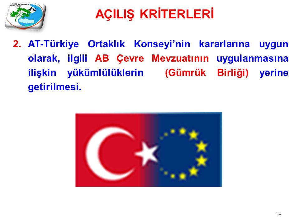 14 2.AT-Türkiye Ortaklık Konseyi'nin kararlarına uygun olarak, ilgili AB Çevre Mevzuatının uygulanmasına ilişkin yükümlülüklerin (Gümrük Birliği) yerine getirilmesi.