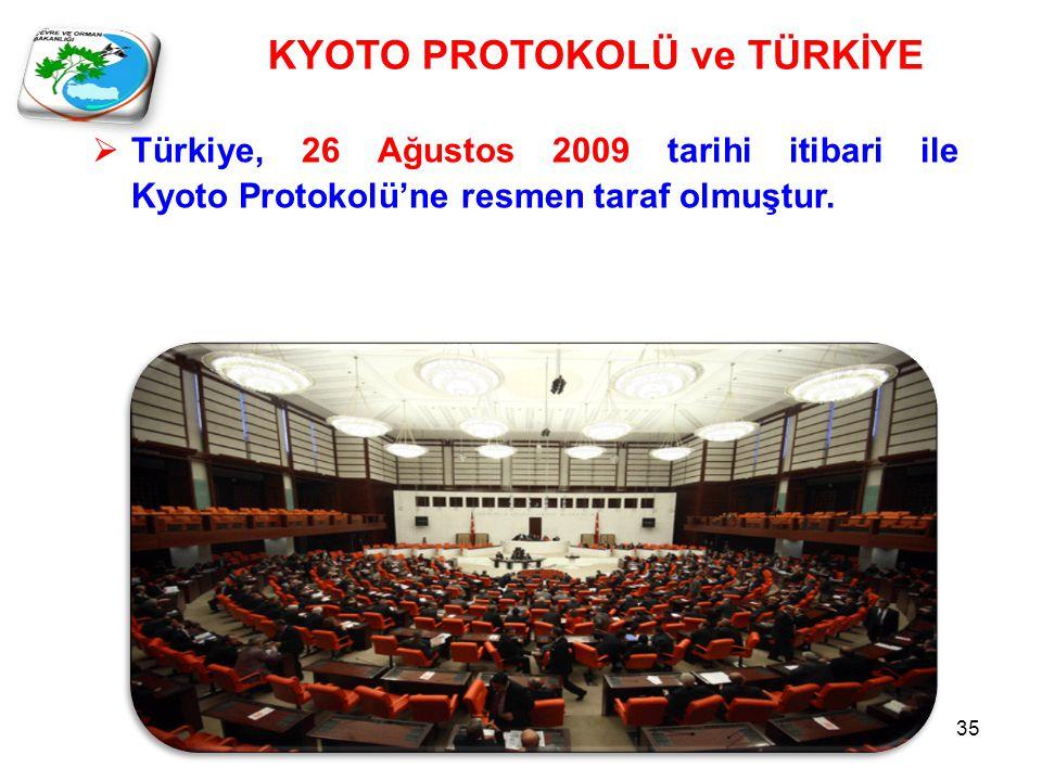 KYOTO PROTOKOLÜ ve TÜRKİYE  Türkiye, 26 Ağustos 2009 tarihi itibari ile Kyoto Protokolü'ne resmen taraf olmuştur.