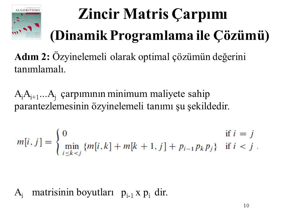 Zincir Matris Çarpımı (Dinamik Programlama ile Çözümü) 10 Adım 2: Özyinelemeli olarak optimal çözümün değerini tanımlamalı. A i A i+1...A j çarpımının