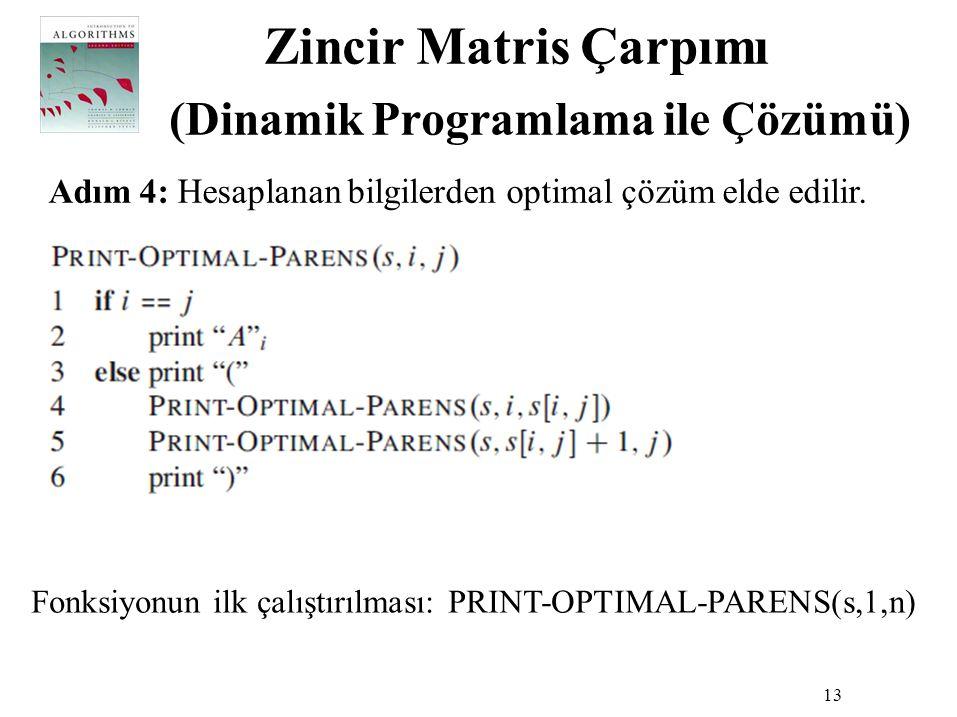 Zincir Matris Çarpımı (Dinamik Programlama ile Çözümü) 13 Adım 4: Hesaplanan bilgilerden optimal çözüm elde edilir. Fonksiyonun ilk çalıştırılması: PR