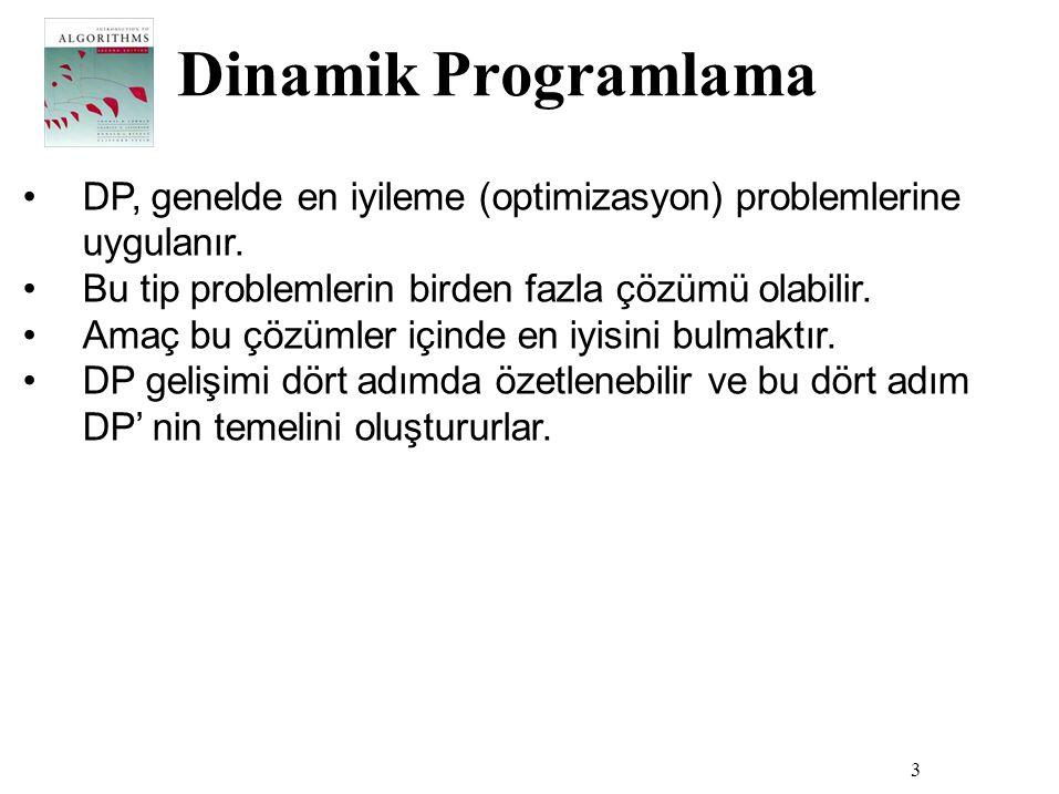 Dinamik Programlama 3 •DP, genelde en iyileme (optimizasyon) problemlerine uygulanır. •Bu tip problemlerin birden fazla çözümü olabilir. •Amaç bu çözü