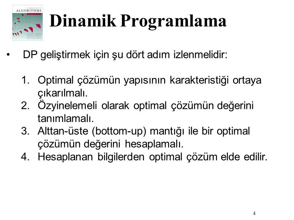 Dinamik Programlama 4 •DP geliştirmek için şu dört adım izlenmelidir: 1.Optimal çözümün yapısının karakteristiği ortaya çıkarılmalı. 2.Özyinelemeli ol