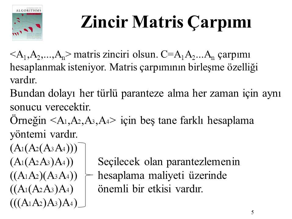 Zincir Matris Çarpımı 5 matris zinciri olsun. C=A 1 A 2...A n çarpımı hesaplanmak isteniyor. Matris çarpımının birleşme özelliği vardır. Bundan dolayı