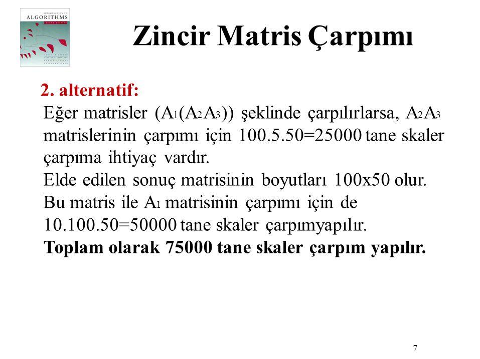 Zincir Matris Çarpımı 7 2. alternatif: Eğer matrisler (A 1 (A 2 A 3 )) şeklinde çarpılırlarsa, A 2 A 3 matrislerinin çarpımı için 100.5.50=25000 tane